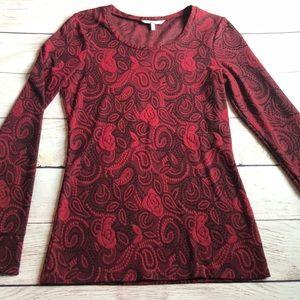 Buckle BKE Red Blouse Long Sleeve Med